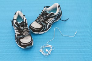 Training shoes and headphones