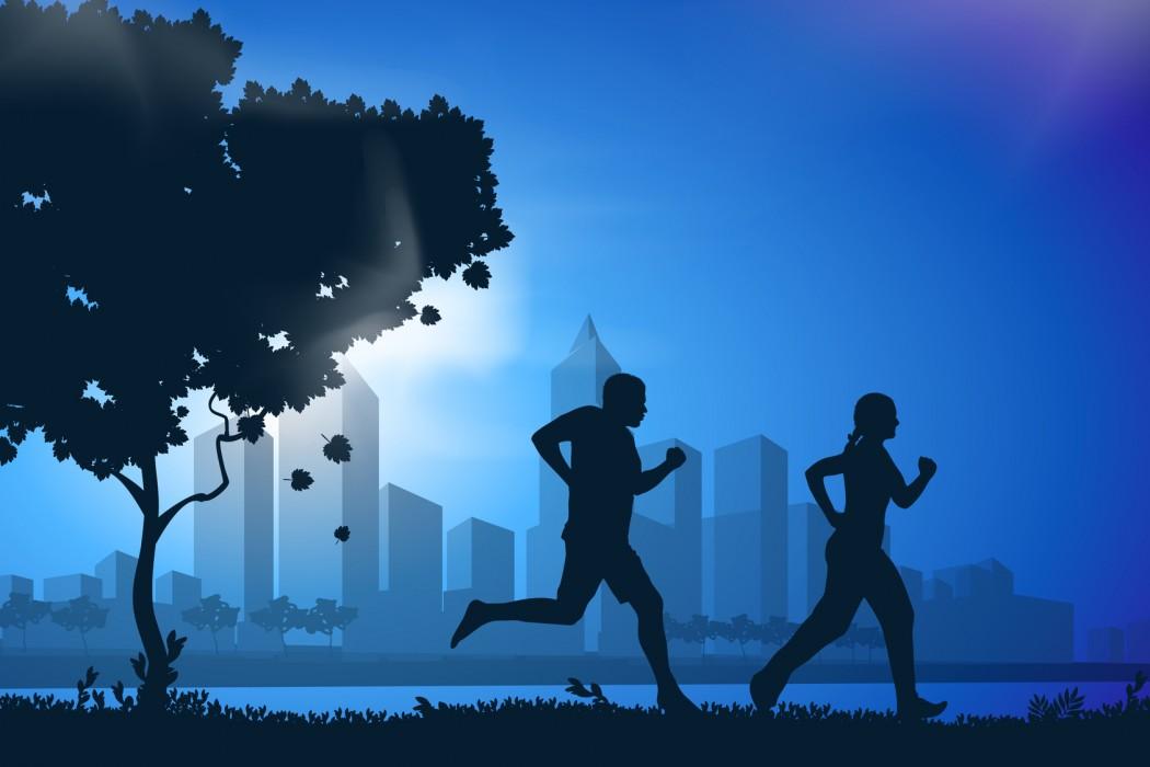 Vector drawing running athletes